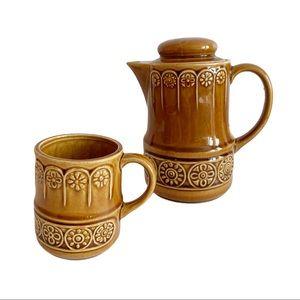 Vtg 1970s Japan Ceramic Tee Mug Brown Amber Coffee